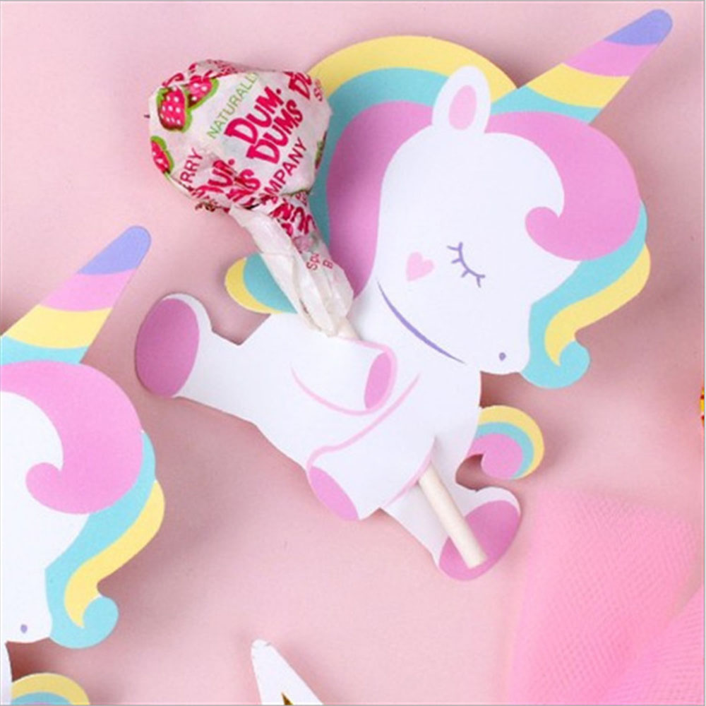 50pcs/pack <font><b>Unicorn</b></font> Beer Lollipop <font><b>Decoration</b></font> Cards Cartoon Animal Candy Lollipop Cards Birthday Party <font><b>Decorations</b></font> Kids Favors image