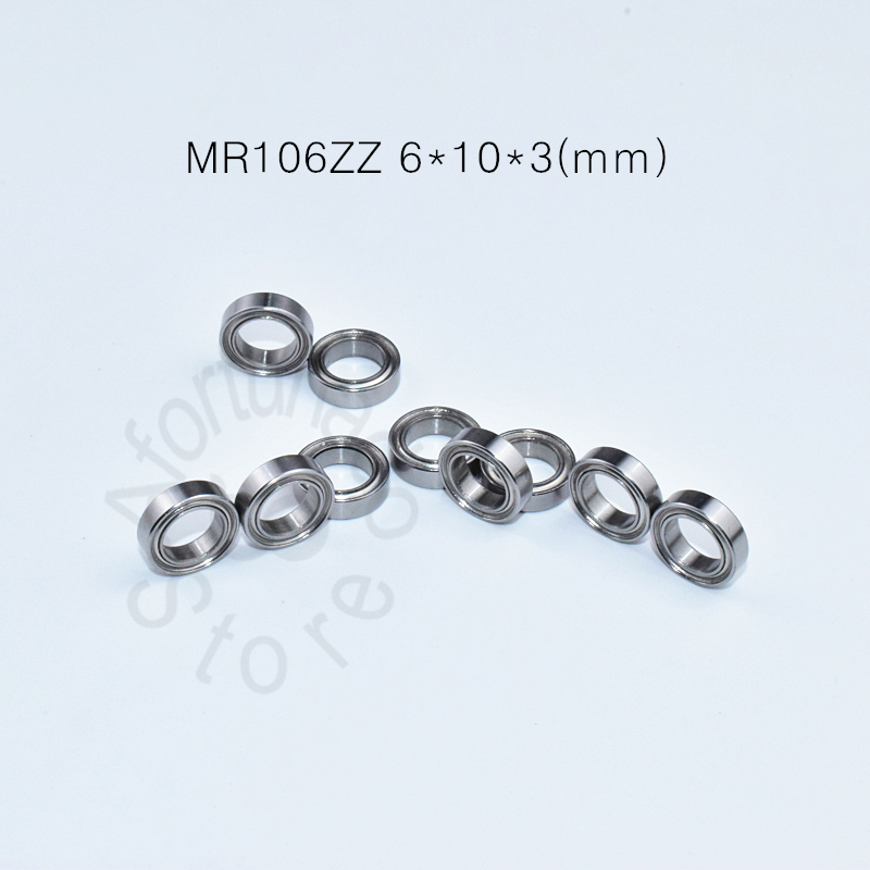 MR106ZZ 6*10*3(mm) 10pieces Free Shipping Bearing ABEC-5 Metal Sealed Miniature Mini Bearing MR MR106 MR106ZZ Miniature Bearings