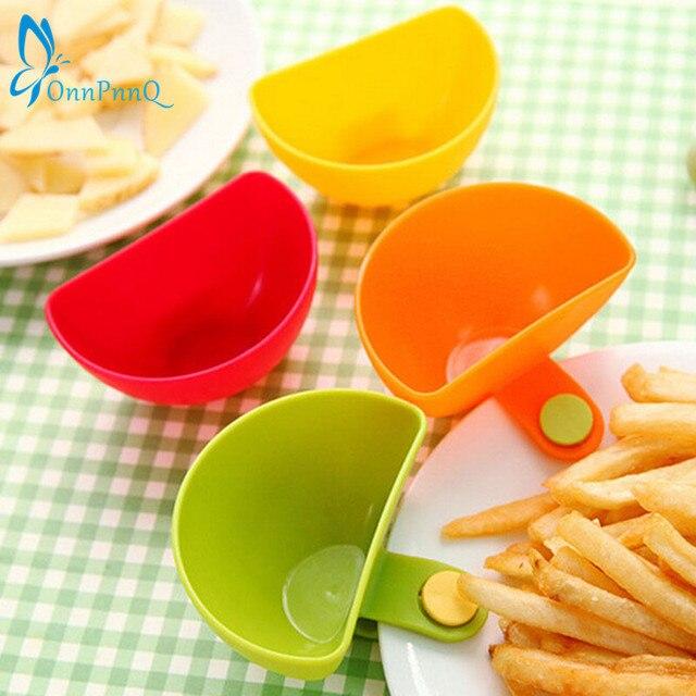OnnPnnQ Hot sale 1Pcs Dip Clips Kitchen Bowl kit Tool Small Dishes Spice Clip For Tomato Sauce Salt Vinegar Sugar Flavor Spices