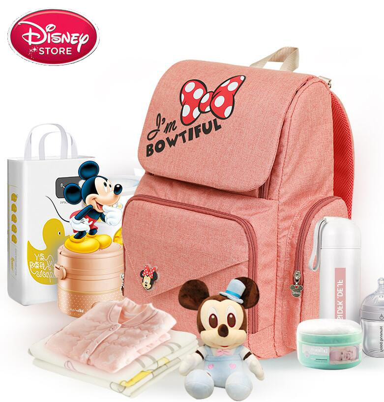 Disney USB Heating Baby Bag Changing Diaper Nappy Dadbag Mummy Bag Maternity Nappy Bags Travel Backpack
