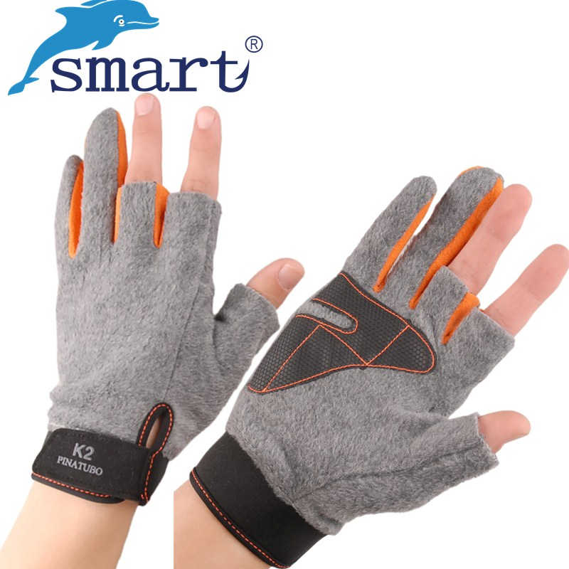 SMART 1Pair Fishing Gloves Anti-Slip 3 Low Fingers Pesca Warm Outdoor Sports Glove Protector Finger For Winter Luvas Guantes