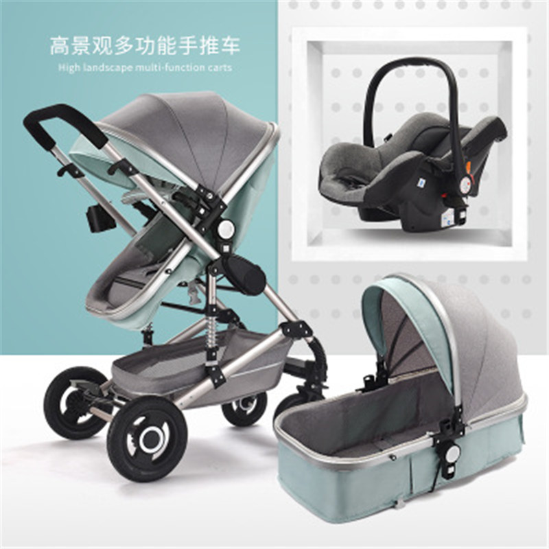 Car Seat Stroller Combo | High Landscape 3 In 1 Baby Stroller Luxury Pram Carriage Basket Baby Safety Car Seat Stroller