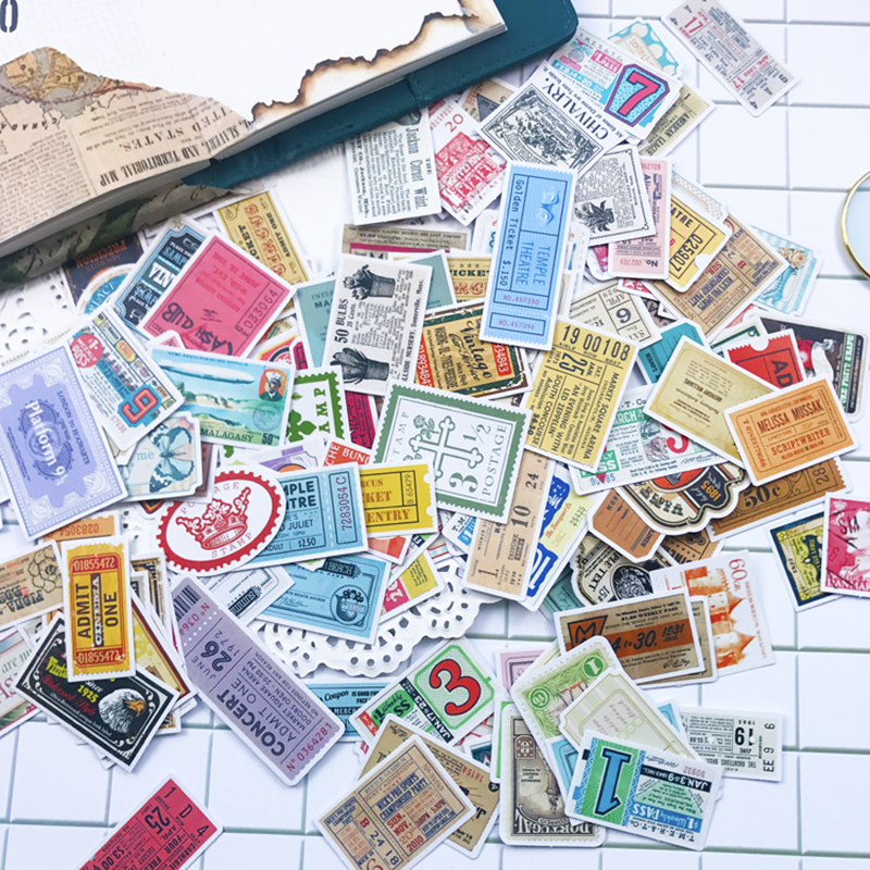 160pcs  Cute Retro Vintage Stamp Stickers  Stickers  Waterproof Sticker Pack For Kids Toy DIY Skateboard Luggage Laptop Gift