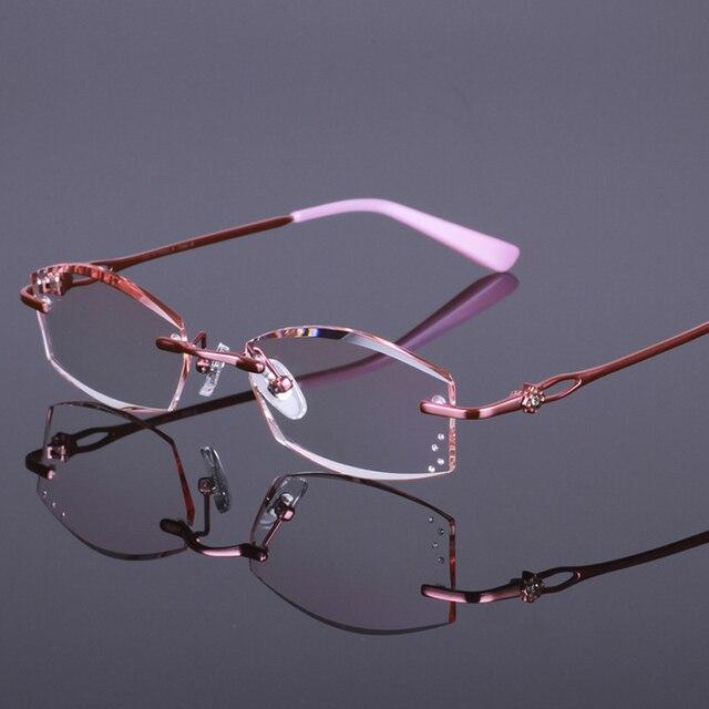 Мода Марка Корея Оправы для очков Без Оправы Titanium Очки Рамки Женщины Близорукость Оправы RS816 4 Цвет Розовый Фиолетовый Золото