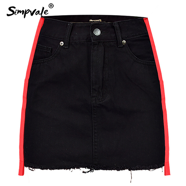 SIMPVALE Women High Waist A-line Black Denim Skirt Red Stripes Tassel Mini  Skirt Lady b27f0045f4