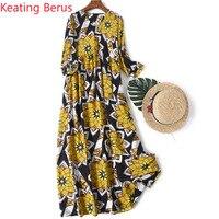 100% Silk Summer Dress 2019 Fashion V head Silk Silk Sleeves Print Long Dress Elegant Women's Good Gift Vestidos 1182