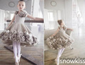 2016 Gray Ballet Knee Length Flower Girl Dresses for Pageant Birthday wedding glitz kids evening prom ball gowns with Flower