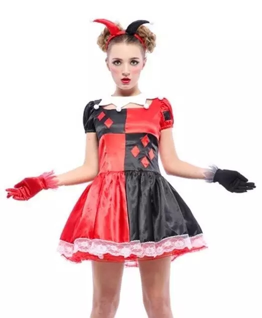 UTMEON Red Black Fantasias AdultFeminino Cosplay Circus Costume Halloween  Clowns Fancy Dress Cosplay Circus Costume