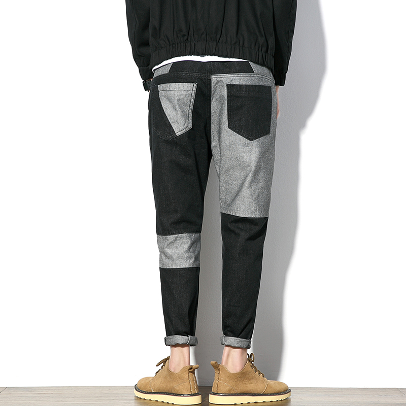 4 Seasons Hiphop jeans pants men Irregular color Black and grey Patchwork Big size 38 40 42 44 46