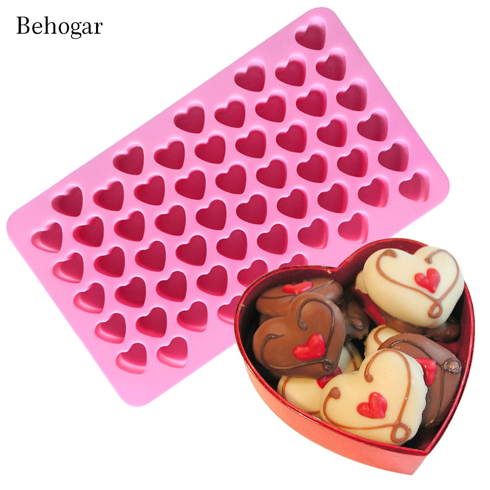 Behogar 55 Slot Silicone Love Heart Shape Ice Cube Chocolate Maker Mold Tray Ice Box for Whisky Cocktails Iced Coffee Cold Drink