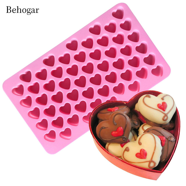 Behogar 55 Slot Silicone Love Heart Shape Ice Cube Chocolate Maker Mold  Tray Ice Box For