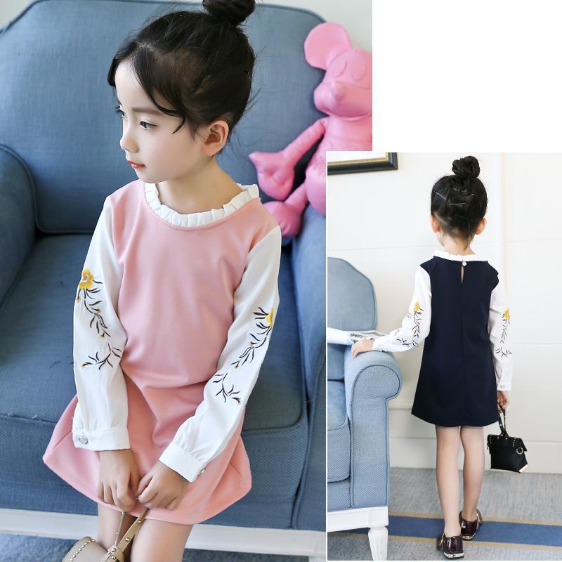 2018 New Spring Baby Girls Dress Pink Black Embroidery Patchwork Princess Girls Dress Long Sleeve Toddler Kids Dresses for Girls 2018 new spring baby girls dress pink