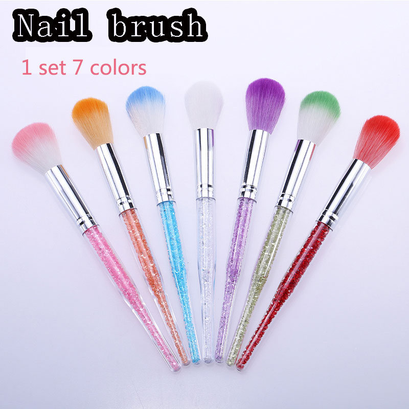 7pcs/set Nail Art Glitter Brush Dust Clean Acrylic UV Gel Powder Remover Rhinestone Handle Nylon Makeup Foundation Manicure