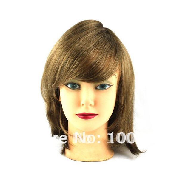 HW0030 Free Shipping 1PC/Lot Blonde 33CM Length Straight Bang Carney Carron Short Lady Synthetic Full Lace Wig