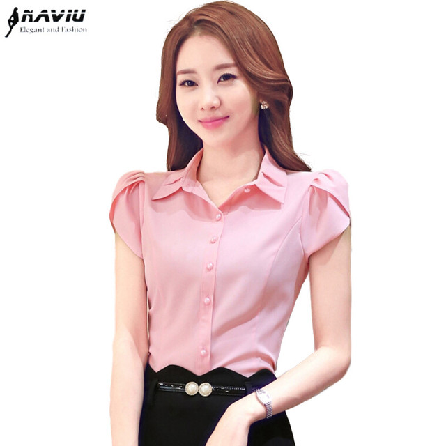 b890a71661b24c NAVIU new fashion design high quality women short sleeve blouses for summer blusas  office ladies formal