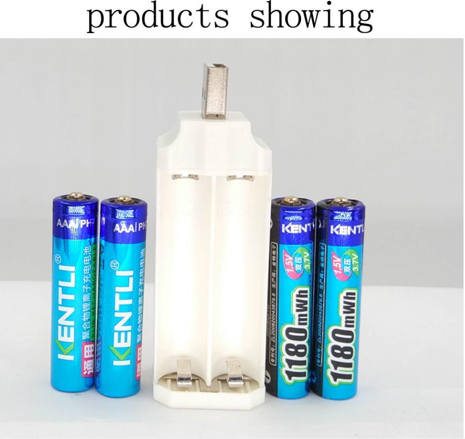 POWERFUL 4 pcs 1.5v 1180mWh AAA rechargeable lithium li-polymer battery +USB Protable li ...