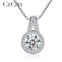 CZCITY Luxury Real 925 Silver Cubic Zirconia Luxury Pendant Necklace Italy Box Chain Charm Necklace Fine Jewelry for Women Gift