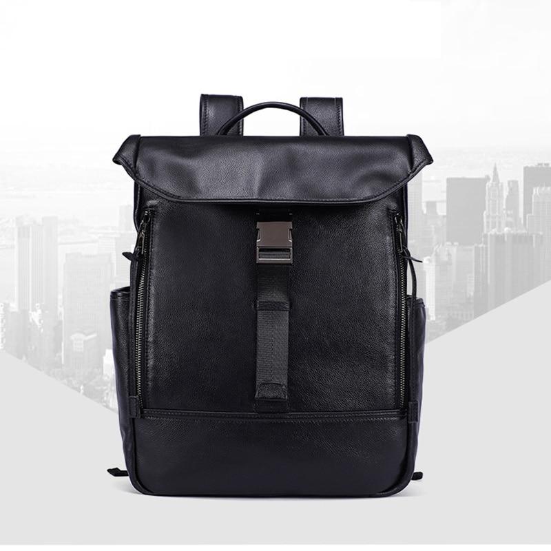 Man Woman Backpack Genuine Leather Oil Wax Anti theft Ipad Bag Cover Shoulder Blosa Feminina Student