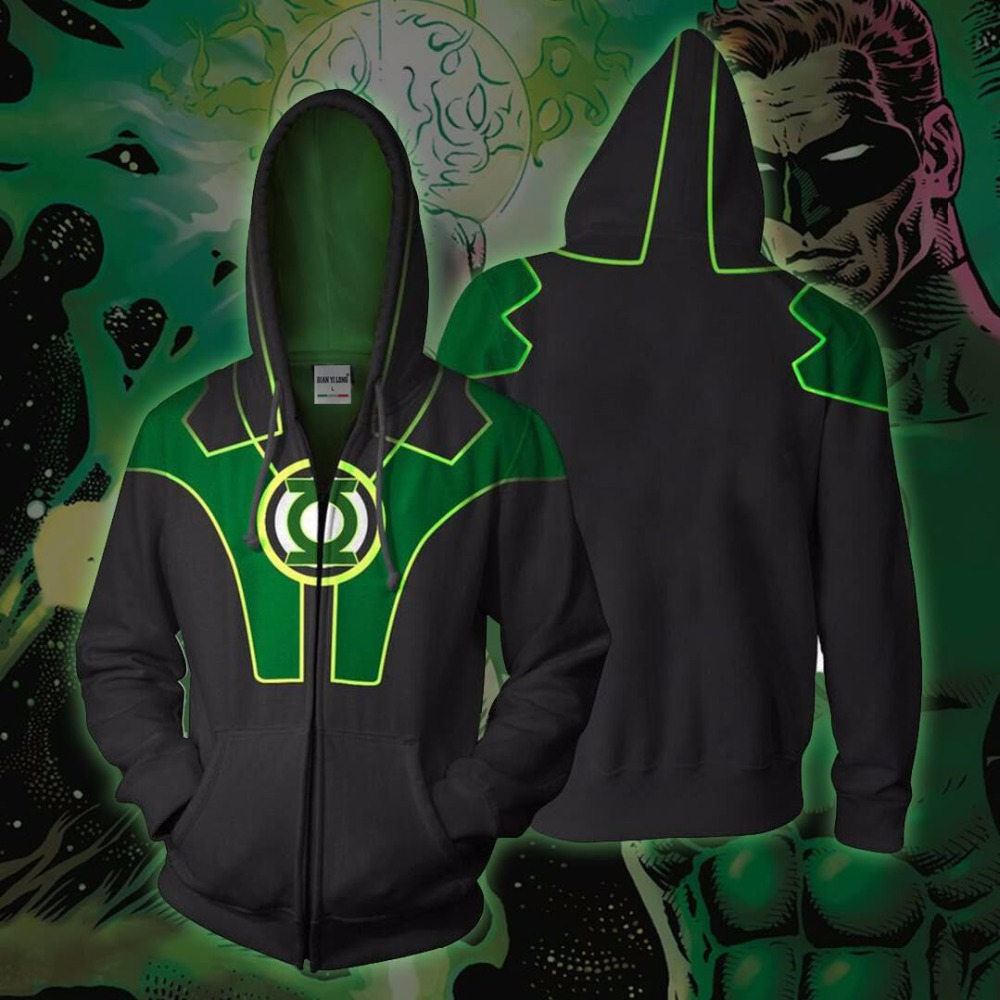 BIANYILONG 2018 new Hoodies Sweatshirts Coat Hoodies Costume Legion Clothing Green Lantern 3D printed Zipper Hoodies tops