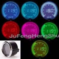 2 52mm 1 16 Colorful Volt Gauge 12V Car 2 Inches 7 Color LED Light Tint