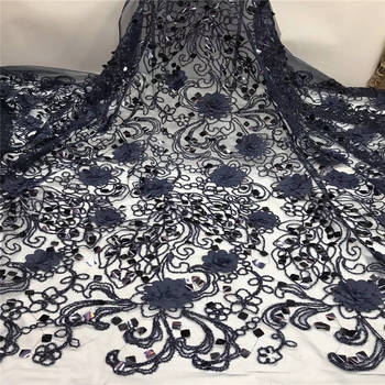 African Lace Fabric With Beads And Sequins 2019 High Quality 3D Flower Mesh Lace Fabric Applique For Nigerian Wedding ZHA82-3