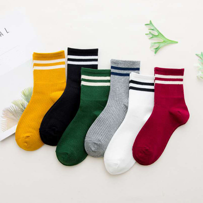 Quality 1 Pair Unisex Stripe Women   Sock   Breathable Cotton Skateboard   Sock   6 Color Hot Sale Female Comfortable   Socks   Drop ship