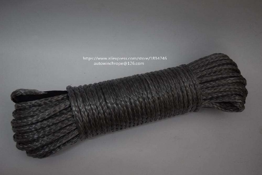 Grey 1/4*100ft Synthetic Winch Rope,ATV Winch Cable,Off Road Rope,Boat Winch Rope