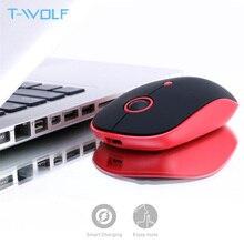 T WOLF Q10 bezprzewodowa ładowalna mysz komputerowa 2.4GHz Mute Slim mysz komputerowa przenośna mysz optyczna USB 1600 DPI dla Macbook/Laptop