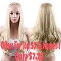 Produtos promocionais Feminino Peruca Longa Ondulado Ombre Perucas Meia para As Mulheres Venda Synthetic Longo Encaracolado Resistente Ao Calor Peruca de Cabelo Falso