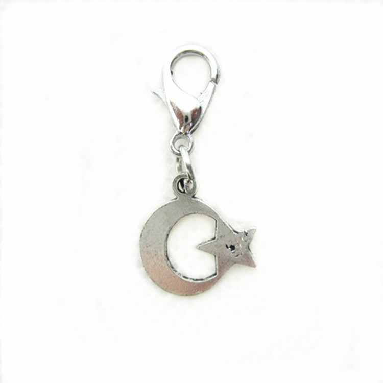20pcs/lot alloy star moon dangle charms lobster clasp hanging charms for glass momery floating pendant lockets necklace