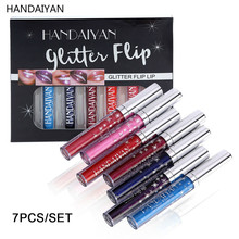 HANDAIYAN Shiny Lip Gloss Set Glitter Liquid Lipstick Sparkle Lipgloss Glitter Flip Lipstick Gliter Waterproof Lip Makeup 7/2pcs mac shiny pretty things lip set