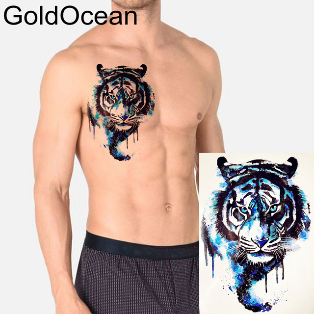 Blue Water Color King Tiger Temporary Tattoo For Men HTH196 Boy Body Art Arm Tatto Chest Fake Waterproof Flash Tattoo Stickers