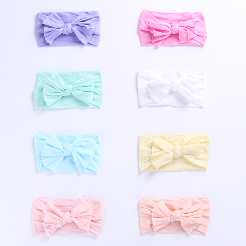 Newborn Knot Bows Nylon Headbands Baby Girls One size fits most Wide Nylon Headwraps Wide Nylon