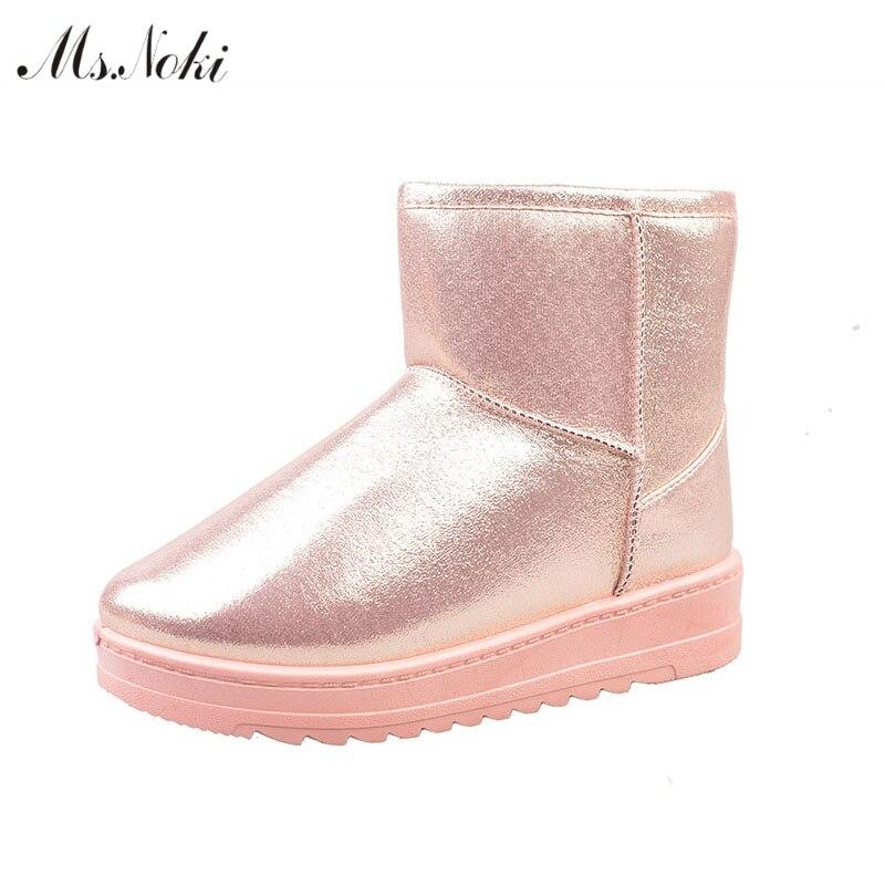 D'hiver de neige imperméables bottes femmes plate-forme chaud en peluche cheville bottes pu en cuir plat talon filles chaussures d'école de coton Solide bottes