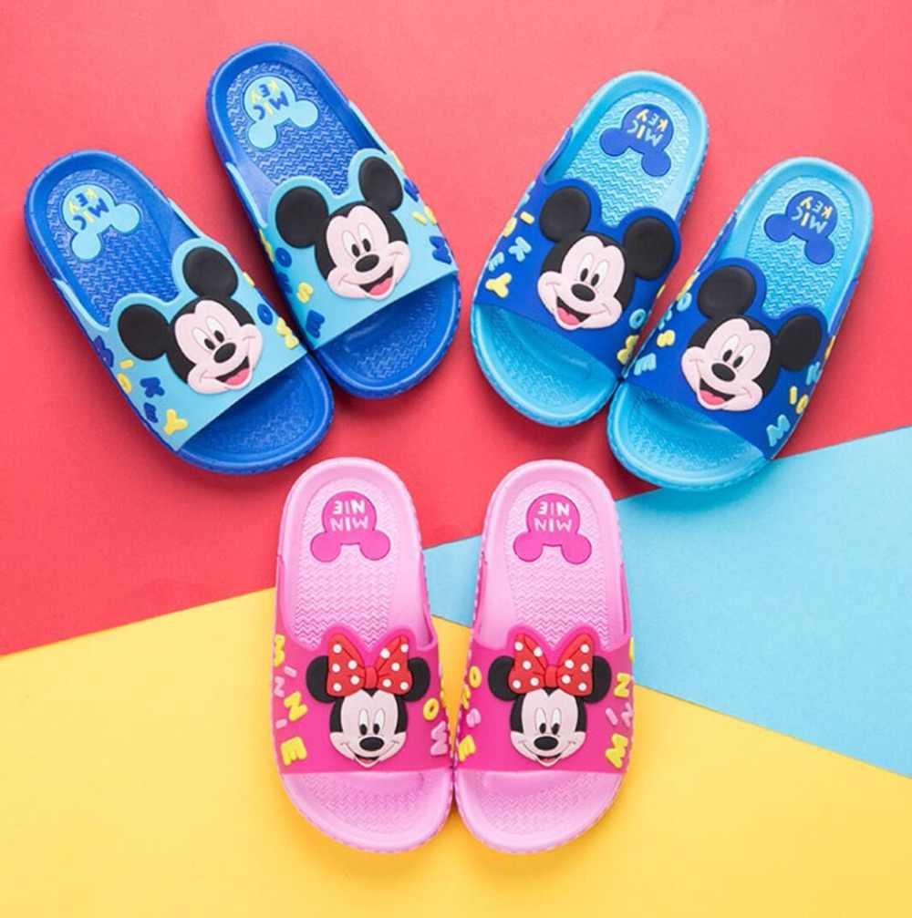 23793abbd ... Disney бренд Женские тапочки Минни Мышь обувь детская босиком пляж  купальный Нескользящие тапочки летние душа вьетнамки ...