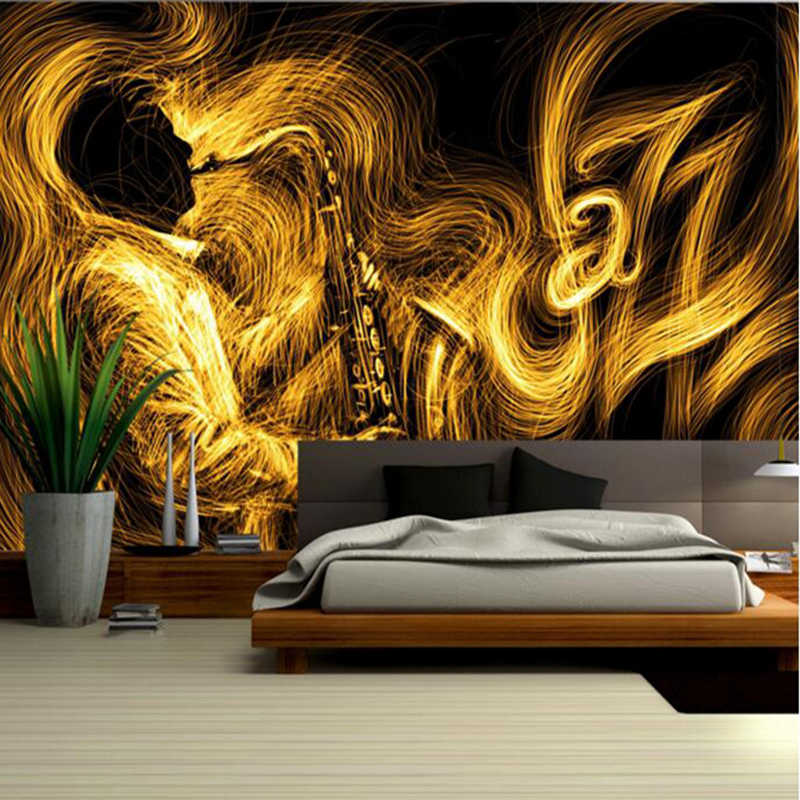 Gold Wallpaper For Walls Abstract Golden Saxophone Jazz Music Best Wallpapers Bedroom Wall Art Wall Designs For Living Room Wallpapers Aliexpress