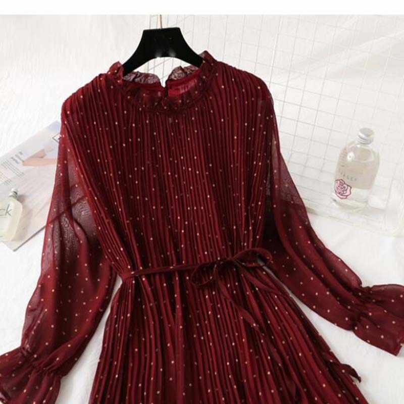 女性プリントプリーツシフォンドレス 2020 春夏新ホットファッション女性のカジュアルなフレアスリーブ蓮の葉ネック基本ドレス