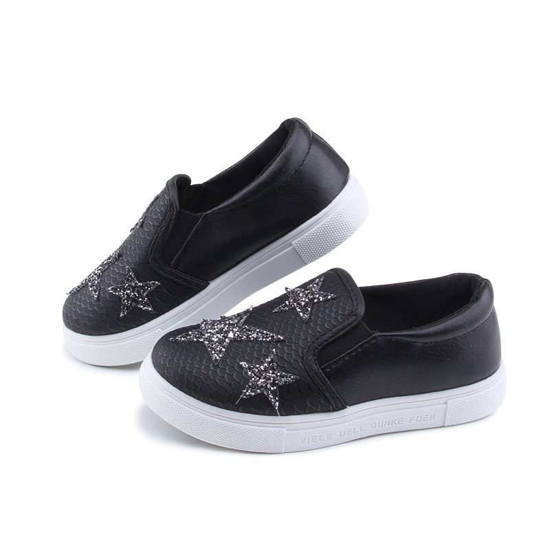 2017 Autumn Kids Shoes Fashion Casual Sneakers For Boys Girls Toddler Children Sports Running Shoes Rhinestone Star White
