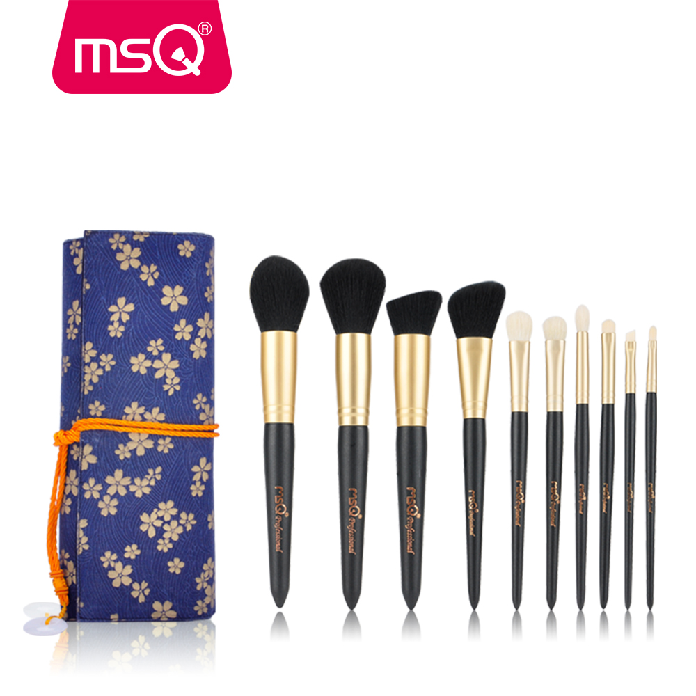 MSQ Makeup Brushes Set 10pcs Powder Blusher Eyeshadow Make Up Brush kit Lip Blending Natural Hair Cosmetics Tools With Nice Bag lcbox professional 40pcs cosmetic makeup brushes set blusher eyeshadow powder foundation eyebrow lip make up brush with bag
