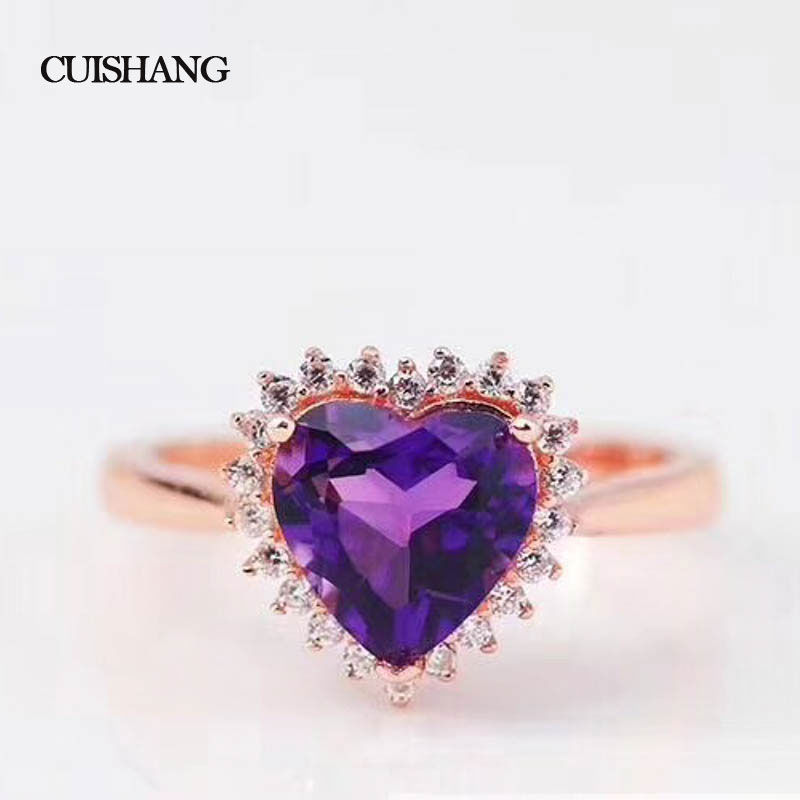 CSJ Classic Fine Jewelry 925 Sterling Silver Ring Real Amethyst Women Wedding Party gift in box