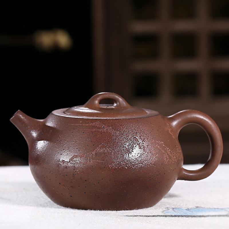 Yixing authentic purple sand mine mud pot 230cc famous all hand made Limited collection tea table treasuresYixing authentic purple sand mine mud pot 230cc famous all hand made Limited collection tea table treasures