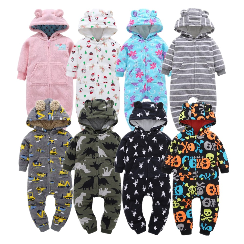 Soft Baby   Rompers   Newborn 6-24M Baby Boy Clothes Warm Fleece Kids Girl Jumpsuits Hooded Infant Girl   Rompers   Toddler Costumes