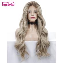 Imstyle Peluca de pelo rubio degradado para mujer, peluca sintética de ondas largas y sueltas con malla frontal para mujer, peluca de encaje Natural de fibra resistente al calor, pelucas para uso diario