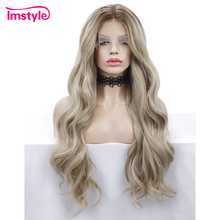 Imstyle ombre loira peruca longa onda solta peruca dianteira do laço sintético para as mulheres fibra resistente ao calor natural peruca do laço perucas diárias