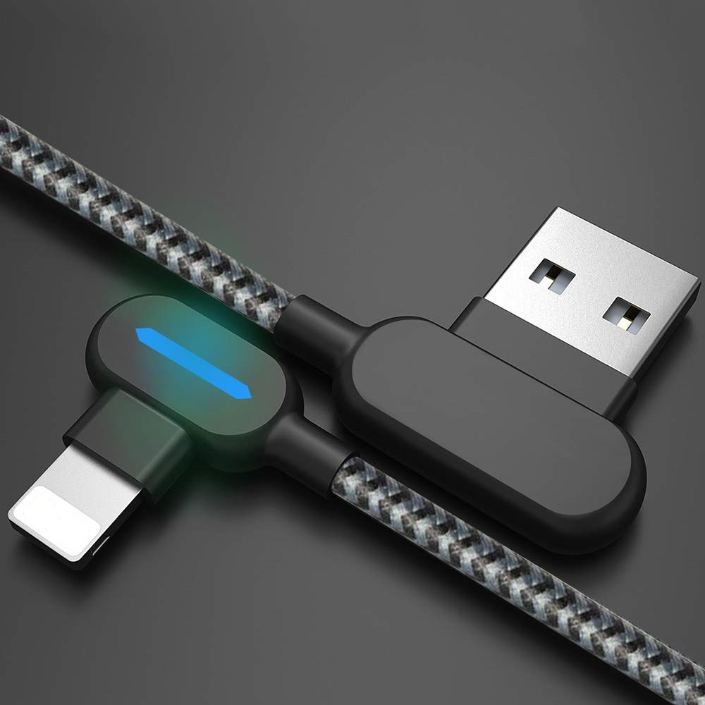 Double 90 Degree Type C Micro USB Lighting Cable For iPhone With Fast Charging And LED