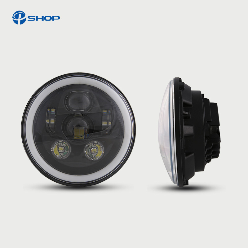Motorcycle Black 7 Led Projector Headlamp for Harley Davidsion Touring Road King 7 Inch Round Daymaker H4 LED Moto Headlight