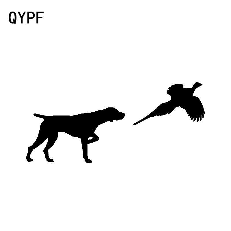 QYPF 15.2CM*6.8CM German Shorthair Pointer Pheasant Personality Vinyl Car Sticker Decal Black Silver C15-3207