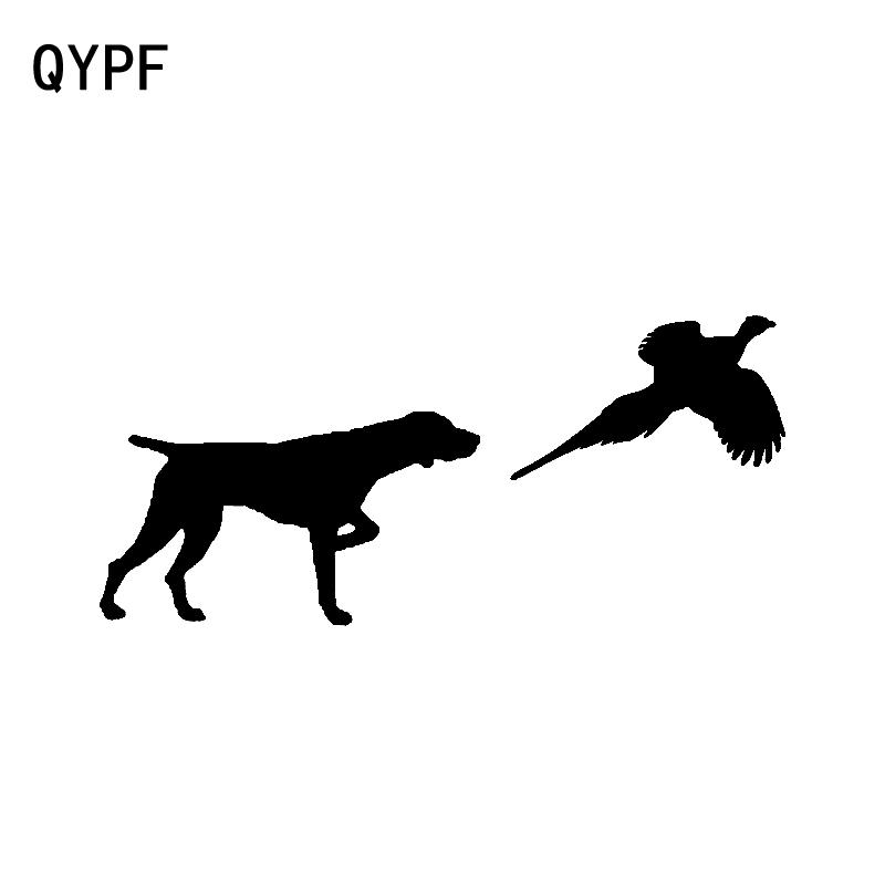 QYPF 15.2CM*6.8CM German Shorthair Pointer Pheasant Personality Vinyl Car Sticker Decal Black Silver C15-3207