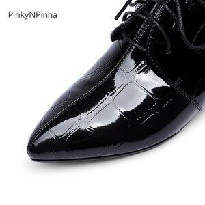 Image 4 - Женские офисные блестящие туфли из лакированной кожи с металлическим узором на низком каблуке с оборками; женские туфли оксфорды; сезон лето осень