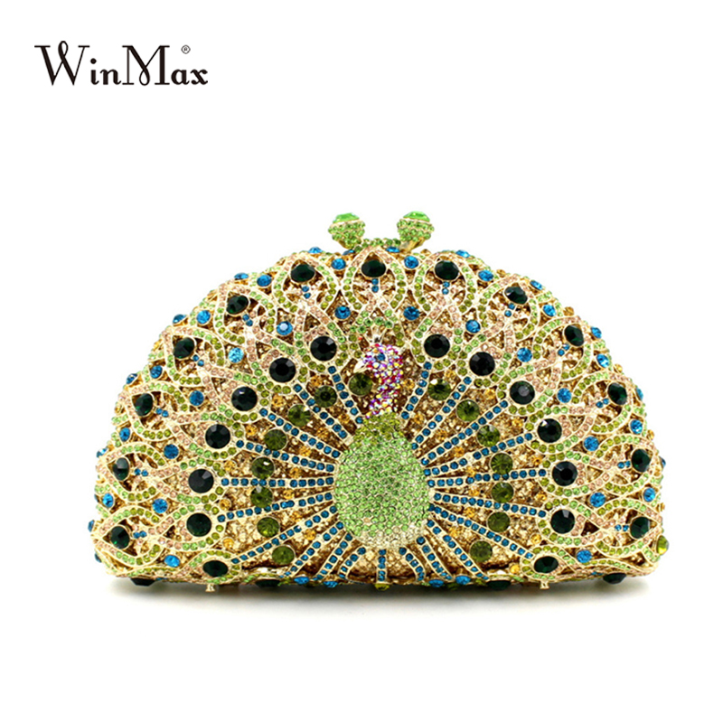 luxury peacock style evening party clutch bag shiny Handcraft crystal clutch diamonds chain dazzling women prom party hand bag luxury crystal clutch handbag women evening bag wedding party purses banquet